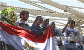 وصول جيانا فاروق إلى مطار القاهرة