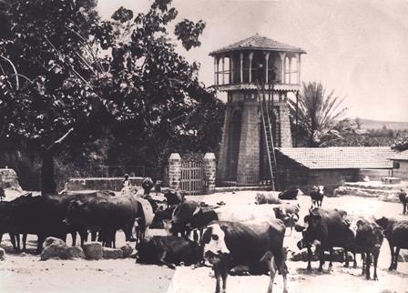 1-برج المياه في باحة القرية عام 1910 بناه اليهود للتغلب على مشاكل الزراعة