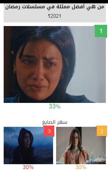 أفضل ممثلة في مسلسلات رمضان 2021