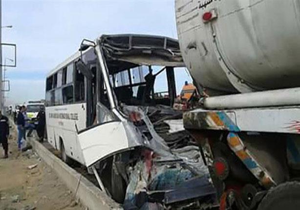 مصرع 12 شخصًا وإصابة 4 في تصادم أتوبيس بسيارة نقل بترول في أسيوط