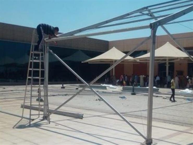 """""""ميناء القاهرة"""" ينتهى من إنشاء خيمة مكيفة لأسر الحجاج"""