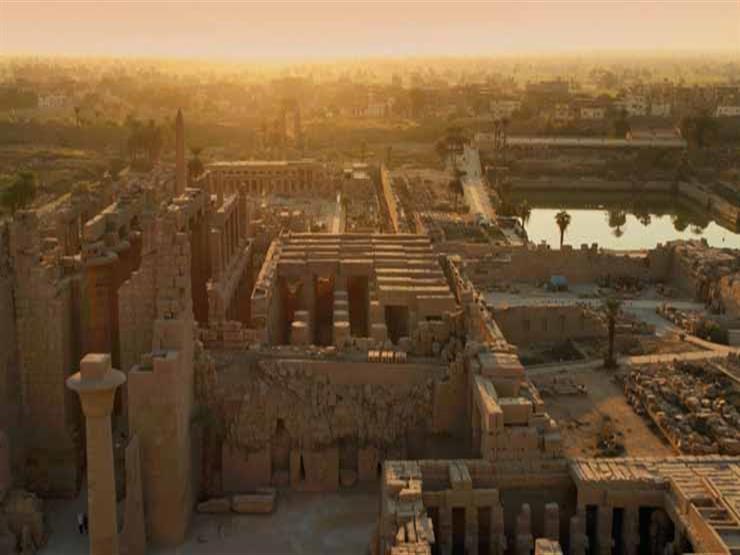 بالفيديو.. واجهة معبد الأقصر تتزين بتماثيل الفرعون