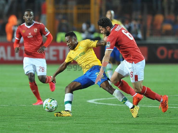 صورة .. وفد صن داونز يراقب الأهلي في مباراة القمة