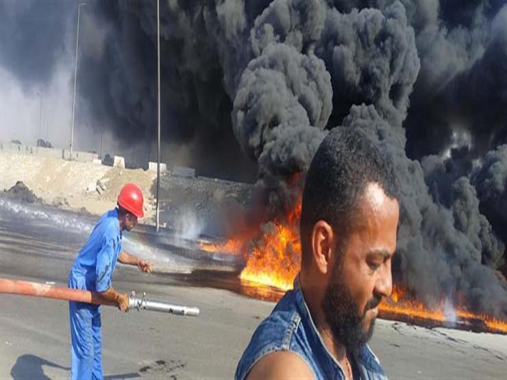 الصحة: 6 إصابات في حريق خط مازوت بطريق الإسماعيلية الصحراوي