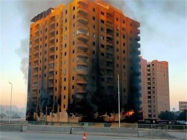 """تطورات برج """"دائري الهرم"""".. النار مشتعلة لليوم الثالث وترقب ل   مصراوى"""
