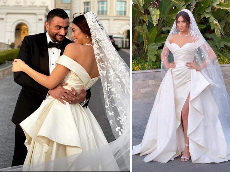 بفستان ملكي.. هاجر أحمد تتألق في حفل زفافها | مصراوى